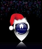 Home for Christmas message, on a shiny silver map pin, with Santa hat and dark bokeh background. EPS