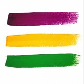 Vector Mardi Gras watercolor brush strokes