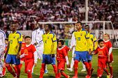 HARTFORD - OCTOBER 10: Ecuadorian players on Rentschler Field stadium before socce match between US Men`s National Team vs Ecuador, on October 10, 2014, in Rentschler Field stadium, Hartford, USA.