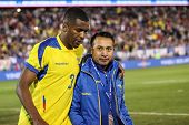 EAST HARTFORD, CT - OCTOBER 10:  Player #3 from Ecuador is leavin field against the US during an international friendly at Rentschler Field on October 10, 2014 in East Hartford, Connecticut