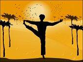 Silhouette Of Man In Yoga Pose On The Background Of The Desert