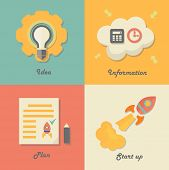 Set of start up icons for new business, ideas, innovation and information