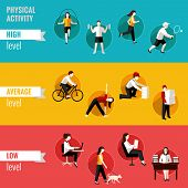 stock photo of average man  - High average and low physical activity level horizontal banners set isolated vector illustration - JPG