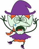 Cute Halloween witch crying and sobbing