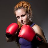 Beautiful Girl With Boxing Gloves, Dreadlocks