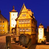 Rothenburg ob der Tauber at night, Bavaria, Germany