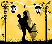 Silhouette Of A Loving Couple In Autumn Park