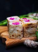 Healthy club sandwich pita bread roll with cheese,ham