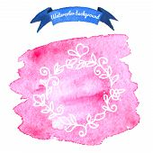 Watercolor background with floral elements