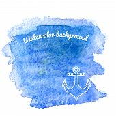Watercolor Background With Anchor