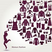Women's fashion background. Clothing and accessories icons. Happy young women.