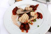 image of swordfish  - Grilled fillet of swordfish on a white plate - JPG