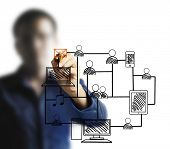 Businessman drawing social network structure