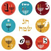 hanukkah, 8 candles for eight day holiday. happy holiday in Hebrew