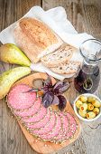 Slices Of Italian Salami With Pears And Wine