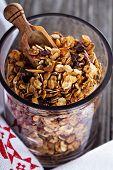Chocolate breakfast granola in a jar