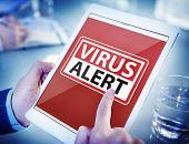 Hands Holding Digital Tablet Virus Alert