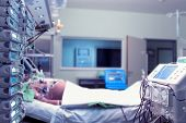 stock photo of icu  - Patient in sickbed in ICU at the hospital - JPG