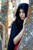 Beautiful Fantasy Woman Wit Black Hood In The Woods