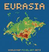 pixel art style illustration of eurasia physical world map