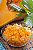 pic of butternut  - Diced butternut squash in a bowl ready for cooking - JPG