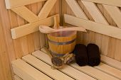 image of sauna  - Wood accessory in the Sauna  - JPG
