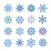 Different blue snowflakes set. Design elements