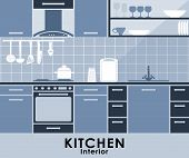 Blue kitchen interior in flat style