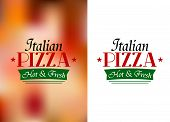 stock photo of hot fresh pizza  - Italian pizza sign or label with text Italian Pizza - JPG