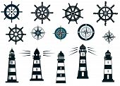 stock photo of compasses  - Set of marine or nautical themed icons in black and white with lighthouses - JPG