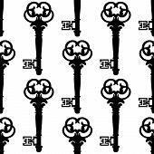 Seamless background pattern of antique keys