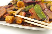 pic of sauteed  - Chinese pork and sauteed mixed chinese vegetables with black bean sauce - JPG