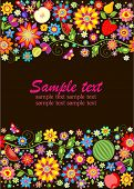 Floral seamless border with fruits. Raster copy