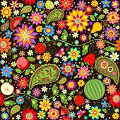 Summer wallpaper with fruits. Raster copy