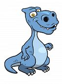 Cute blue cartoon dinosaur