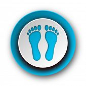 foot blue modern web icon on white background