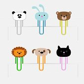 Paperclips set with animal heads. Panda, rabit, dog, cat, lion, bear. Flat design.