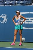 Five times Grand Slam champion Maria Sharapova practices for US Open 2014