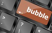 Button With Bubble Word On Computer Keyboard Keys