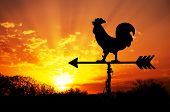 Rooster weather vane against sunrise with bright colors in clouds, concept for early morning wake up