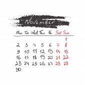 Handdrawn calendar November 2015. Vector.