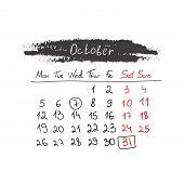 Handdrawn calendar October 2015. Vector.