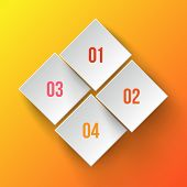 White applique numbers on orange background