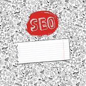 image of drow  - Doodle hand drow sketchy seo  icons  in backgrround  pattern - JPG