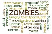 Zombies word cloud with white background