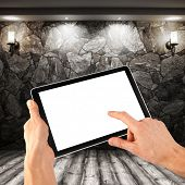 a tablet like ipades on the interior backgrounds