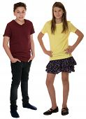 Children Or Young Teenagers Full Body Portrait Isolated