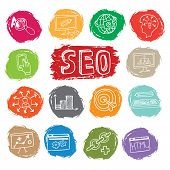 Doodle business seo icons set on colored spot