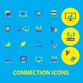 connection, communication, server, network icons, signs, symbols, illustrations set, vector