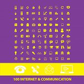 100 internet, communication, connection, phone isolated icons, signs, illustrations, silhouettes set